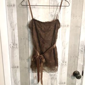 The Buckle tank top camisole brown lace lined M